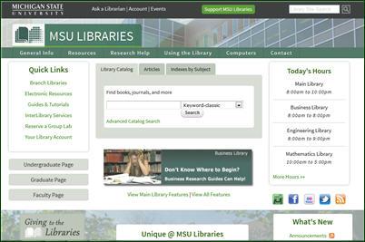 Screenshot of MSU Libraries website as of August 14, 2013
