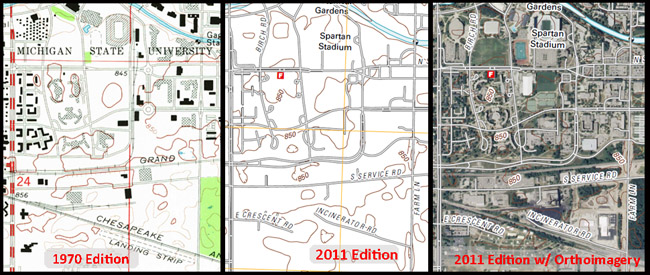 Three USGS topo maps of MSU